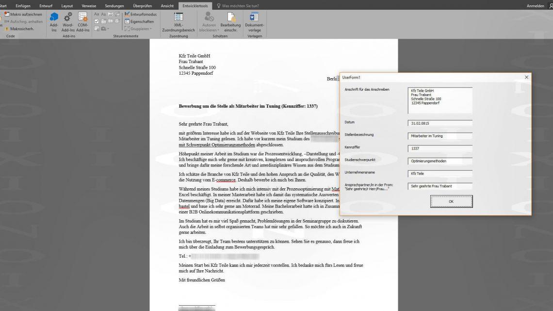 Anschreiben bei Bewerbungen schneller verfassen: Erstellen einer Eingabemaske für Word mit Visual Basic